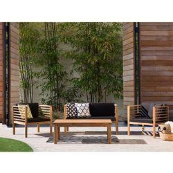 Meble ogrodowe brązowe - ogród - stół + 2 krzesła + ławka - pacific wyprodukowany przez Beliani