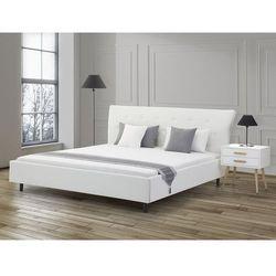 Beliani Łóżko białe - 160x200 - łóżko skórzane ze stelażem - saverne (7081452868441)