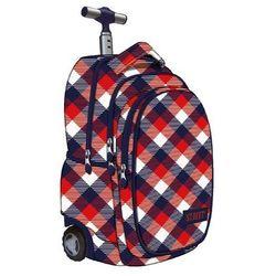 St.reet plecak szkolny na kółkach krata czerwono-granatowa 609640, marki St. majewski
