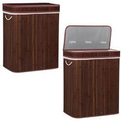 Kosz na pranie 100L z 3 komorami bambus naturalny brązowy