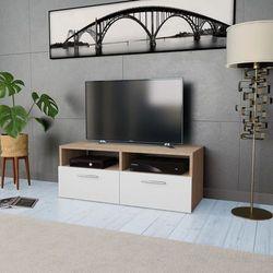 vidaXL Szafka pod TV, 95x35x36 cm, płyta wiórowa, kolor dębowy i biały