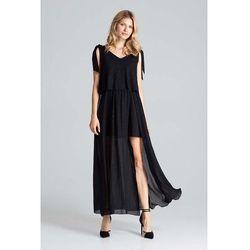 Czarna warstwowa maxi sukienka wiązana na ramionach marki Figl