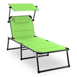 amalfi juicy lime leżak 70 x 37 x 200 cm osłona przeciwsłoneczna zielony marki Blumfeldt