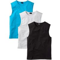 Shirt bez rękawów (3 szt.) regular fit  biały + turkusowy + czarny marki Bonprix