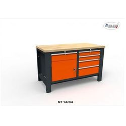 Stół warsztatowy ST14/04 DWÓJKA 1400mm szuflady i szafki na klucz
