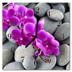 Zegar szklany kwadratowy Kamienie storczyk