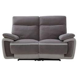 Vente-unique Sofa 2-osobowa z elektryczną funkcją relaksu metti z weluru - kolor szary z jasnoszarymi paskami