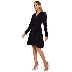 Czarna rozkloszowana sukienka kopertowa wiązana w pasie, 1 rozmiar