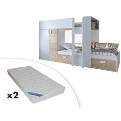 Łóżko piętrowe JULIEN – 2 × 90 × 190 cm – szafa – kolor biały i dąb + 2 materace ZEUS 90x190
