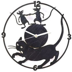 Drewniany zegar na ścianę Kot i myszy z białymi wskazówkami