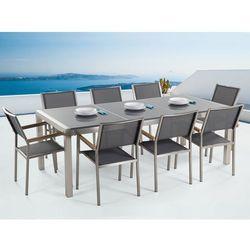 Meble ogrodowe - stół granitowy 220 cm szary polerowany z 8 szarymi krzesłami - grosseto wyprodukowany przez Beliani