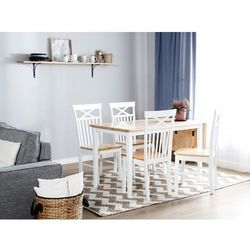 Stół do jadalni drewniany biały 119 x 75 cm przedłużka LOUISIANA