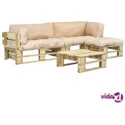 vidaXL Meble ogrodowe z palet, 4 szt., drewno FSC, piaskowe poduszki