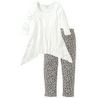 Bonprix Piżama ze spodniami 3/4 i shirtem z dłuższymi bokami  biel wełny z nadrukiem