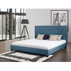 Łóżko granatowe - łóżko tapicerowane - 160x200 cm - MARSEILLE (łóżko)