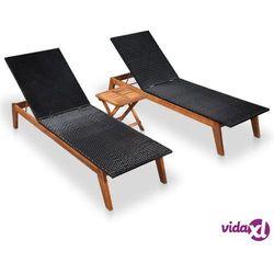leżaki ze stolikiem, 2 szt., polirattan i lite drewno akacjowe marki Vidaxl