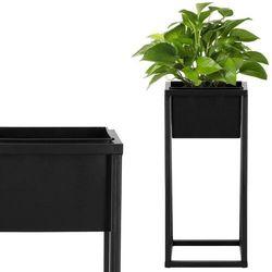 Stojak na kwiaty 40 cm z doniczką nowoczesny kwietnik loft czarny mat
