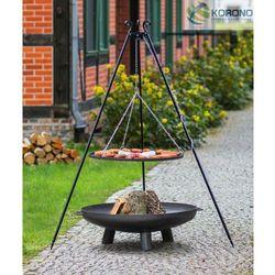 Grill na trójnogu z rusztem ze stali czarnej + palenisko ogrodowe 80 cm / 100 cm