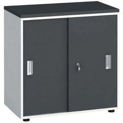 Szafa biurowa z przesuwnymi drzwiami, 740x800x420 mm, biały / grafitowy marki B2b partner