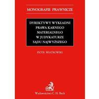 Dyrektywy wykładni prawa karnego materialnego w judykaturze Sądu Najwyższego, książka w oprawie miękkej