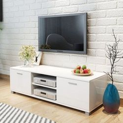 Szafka pod tv na wysoki połysk biała 140x40,3x34,7 cm marki Vidaxl