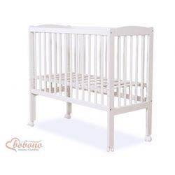 Bobono Mini łóżeczko sosnowe / przystawka + materacyk, fabio / białe,