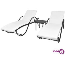 leżaki ze stolikiem, 5 części, polirattan, czarny marki Vidaxl