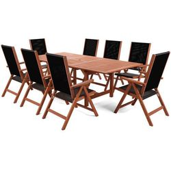 Meble ogrodowe drewniane Meranti Maxi Black 180 / 230 cm