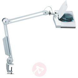 Lampka energooszczędna z lupą na biurko MAULvitrum, 2x9W, mocowana zaciskiem, biała