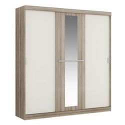 Vente-unique Szafa didda - 3 przesuwnych drzwi - dł.205 cm - kolor: dąb i kość słoniowa