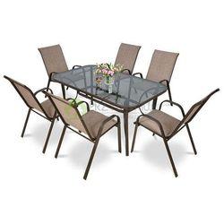 Meble ogrodowe BOLOGNA 6 krzeseł brąz ()