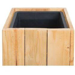 Doniczka drewniana prostokątna 28 x 28 x 60 cm SYKIA (4251682214094)