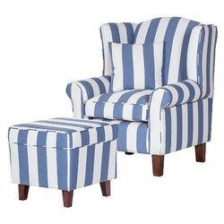 WEST fotel tapicerowany z pufą - niebieski, 16456 / WEST 1H / BIARITZ PASY NIEBIESKIE / CIEMNY BRĄZ