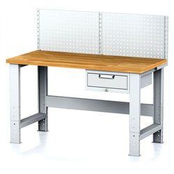 Stół warsztatowy mechanic z nadstawką, 1500x700x700-1055 mm, nogi regulowane, 1x 1 szufladowy kontener, szary/szary marki B2b partner