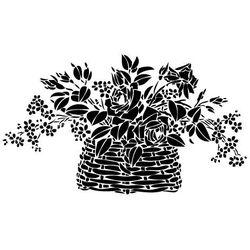 Szablon malarski, wielorazowy, wzór flora 238 - kosz z kwiatami marki Szabloneria