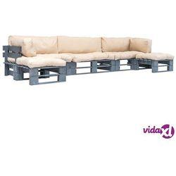 Vidaxl ogrodowe meble z palet, 6 cz., drewno fsc + piaskowe poduszki