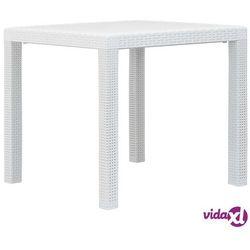 stolik ogrodowy, 79x79x72cm, plastik o wyglądzie rattanu, biały marki Vidaxl