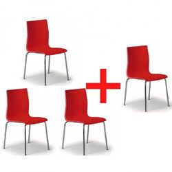 Krzesło plastikowe Mezzo 3+1 GRATIS, czerwone