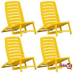 Vidaxl składane krzesło plażowe, 4 szt., plastikowe, żółte (8719883551531)