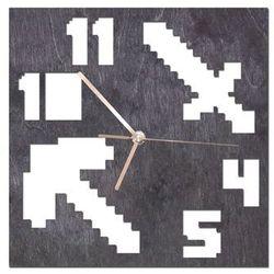 Drewniany zegar na ścianę Piksele ze złotymi wskazówkami, kolor czarny