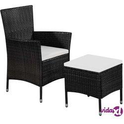 fotel ogrodowy z podnóżkiem i poduszkami, polirattan, czarny marki Vidaxl