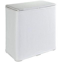 Biały, dekoracyjny kosz na pranie wanda, o pojemności 65 l, 49x50x27 cm, wykonany z tworzywa sztucznego, z pokrywą, marka marki Wenko
