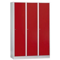 Szafa szatniowa z cokołem, wys. x szer. x gł. 1800x1200x500 mm, 3 półki, czerwon
