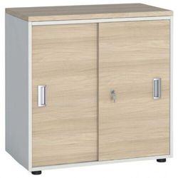 Szafa biurowa z przesuwnymi drzwiami, 740 x 800 x 420 mm, biały/dąb naturalny