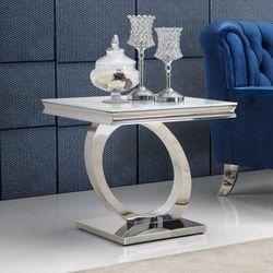 Stolik kawowy glamour Dallas II - stal blat szklany (5908273396637)