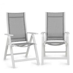 Blumfeldt Cadiz krzesło składane zestaw 2 szt. 59,5x107x68 cm ComfortMesh aluminium białe