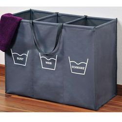 Kesper Składany kosz na pranie w kolorze szarym z przegródkami, duży kosz na pranie, kosz na pranie materiałowy, kosz łazienkowy, (4000270891700)