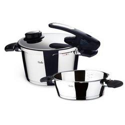 vitavit edition - szybkowar 4,5 l z dodatkową patelnią 2,5 l i wkładem do gotowania na parze - 4,50 l + 2,50 l marki Fissler