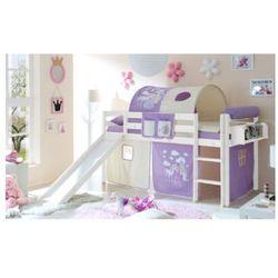 Ticaa kindermöbel Ticaa łóżko ze zjeżdzzalnią manuel sosna biała konik (liliowy), kategoria: łóżeczka i kołyski