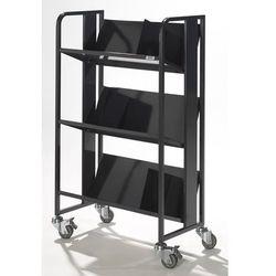 Quipo Stalowy wózek na segregatory, 3 piętra, antracyt. z 3 podpórkami na książki. bez